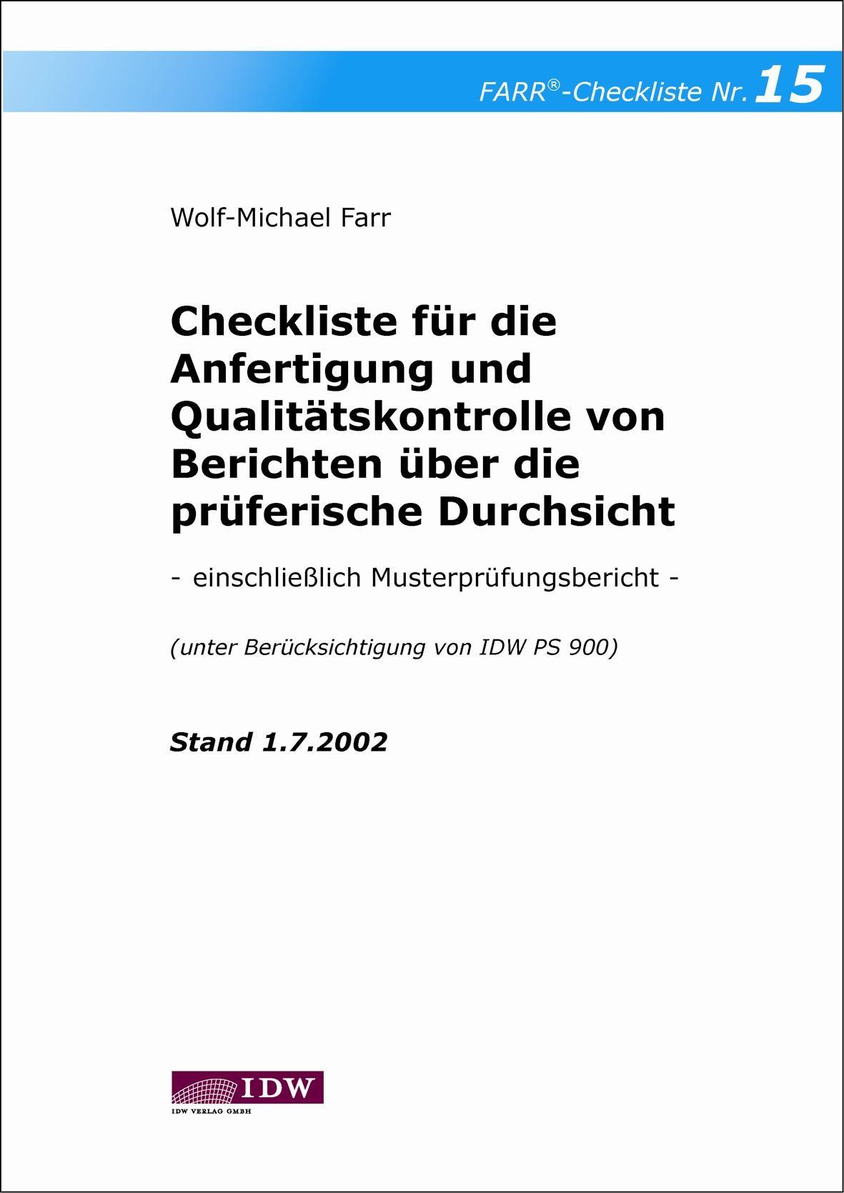 Checkliste für die Anfertigung und Qualitätskontrolle von Berichten über die prüferische Durchsicht | Farr, 2002 | Buch (Cover)