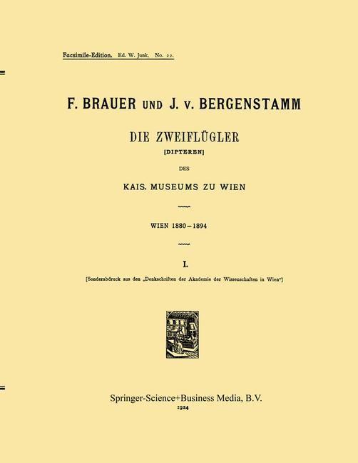 Die Zweiflügler (Dipteren) des Kais. Museums zu Wien | Brauer / von Bergenstamm | 1924, 1923 | Buch (Cover)