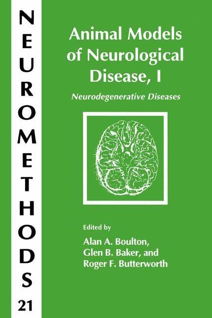 Animal Models of Neurological Disease, I | Boulton / Baker / Butterworth, 1992 | Buch (Cover)