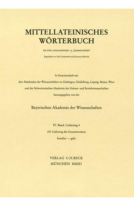 Cover: , Mittellateinisches Wörterbuch  39. Lieferung (frendor - gelo)