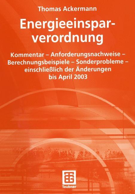 Energieeinsparverordnung | Ackermann, 2003 | Buch (Cover)