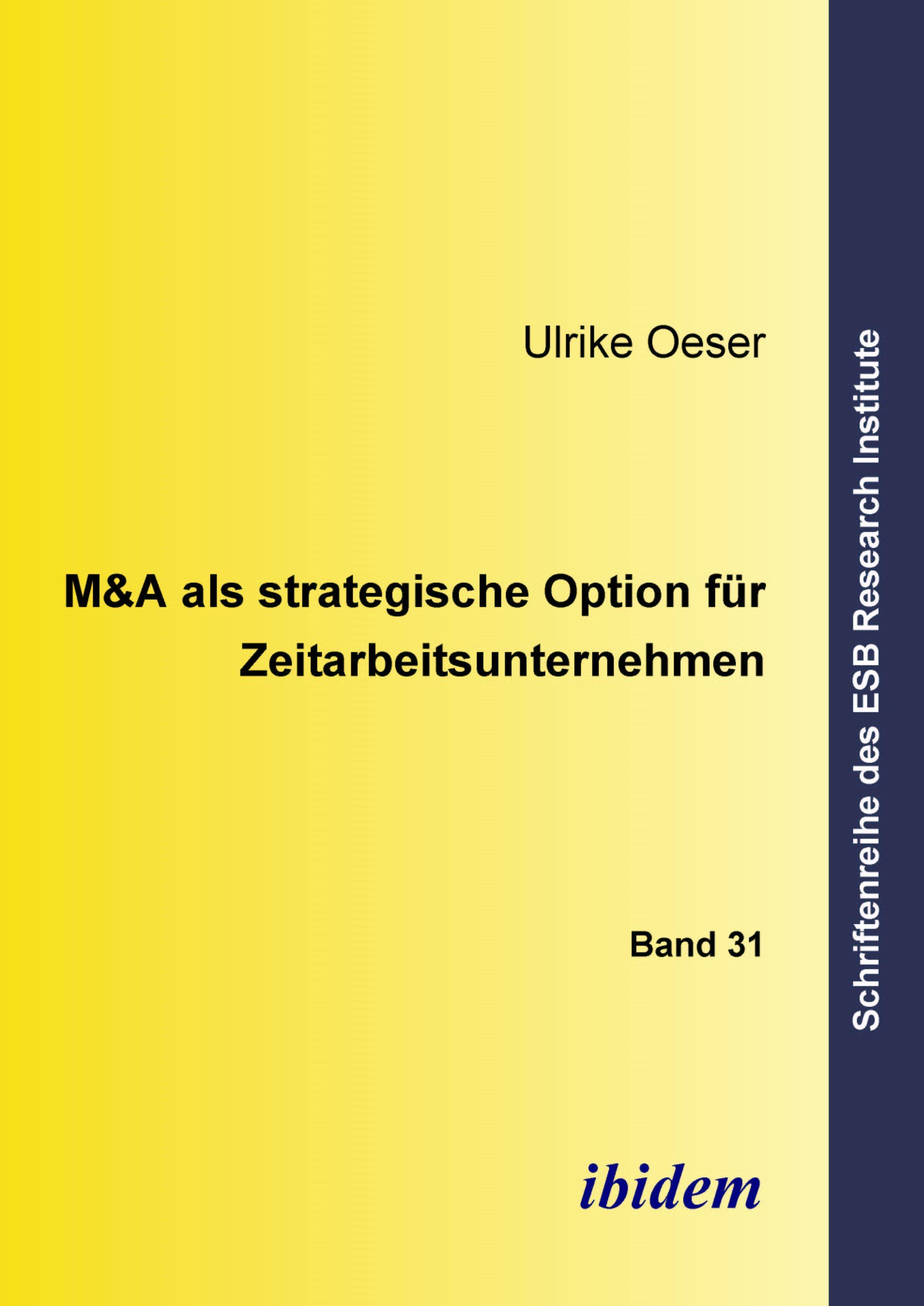 M&A als strategische Option für Zeitarbeitsunternehmen | Oeser, 2005 | Buch (Cover)