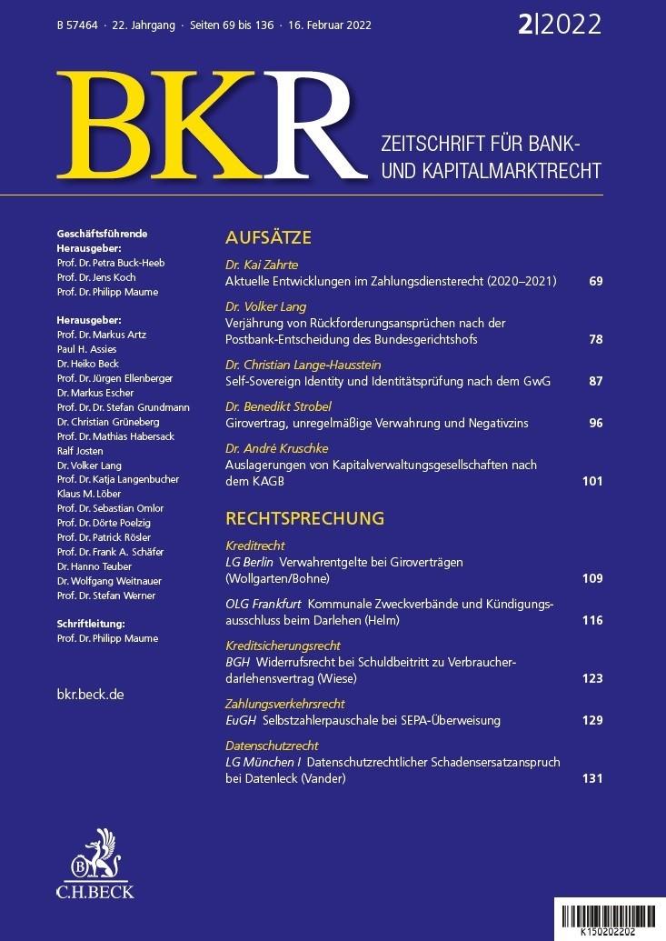 BKR • Zeitschrift für Bank- und Kapitalmarktrecht (Cover)