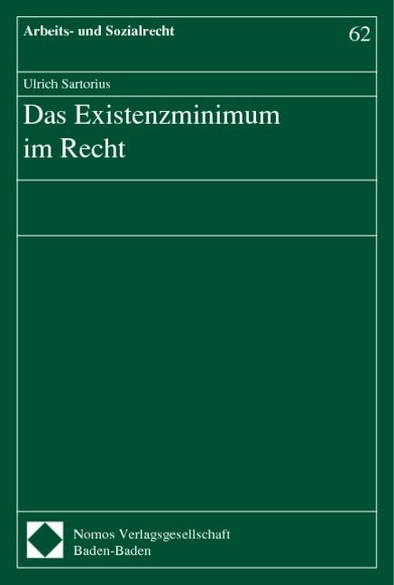 Das Existenzminimum im Recht | Sartorius, 2000 | Buch (Cover)