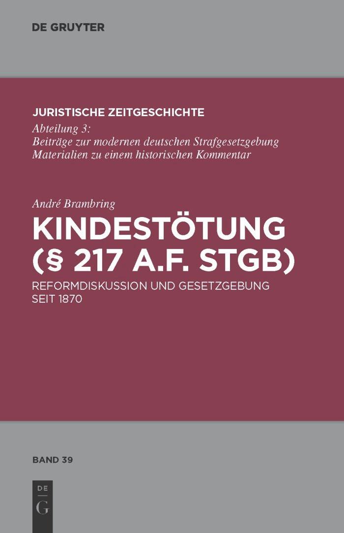 Kindestötung (§ 217 a.F. StGB) | Brambring, 2010 | Buch (Cover)
