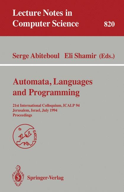 Automata, Languages, and Programming | Abiteboul / Shamir, 1994 | Buch (Cover)