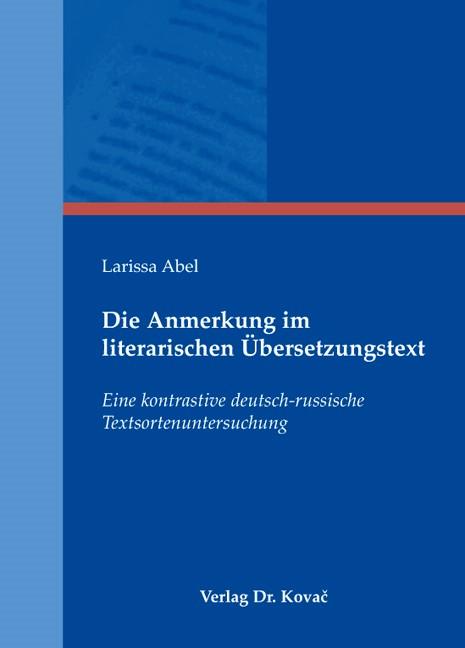 Die Anmerkung im literarischen Übersetzungstext   Abel, 2009   Buch (Cover)