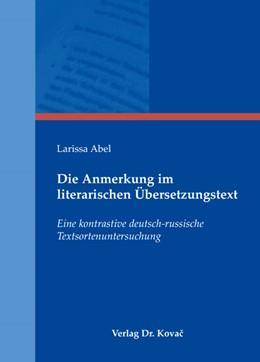 Abbildung von Abel | Die Anmerkung im literarischen Übersetzungstext | 2009 | Eine kontrastive deutsch-russi... | 129
