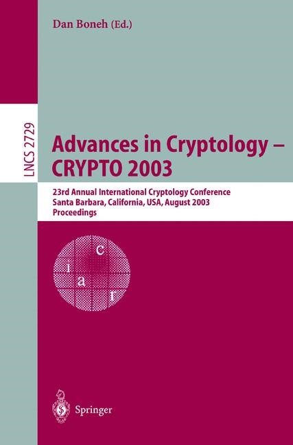 Advances in Cryptology -- CRYPTO 2003 | Boneh, 2003 | Buch (Cover)