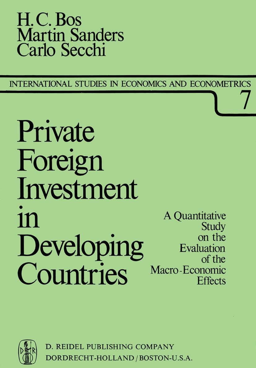 Private Foreign Investment in Developing Countries | Bos / Sanders / Secchi, 1974 | Buch (Cover)