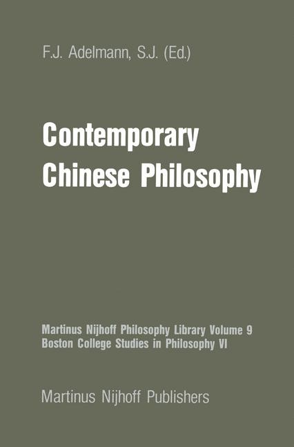 Contemporary Chinese Philosophy | Adelmann, 1982 | Buch (Cover)