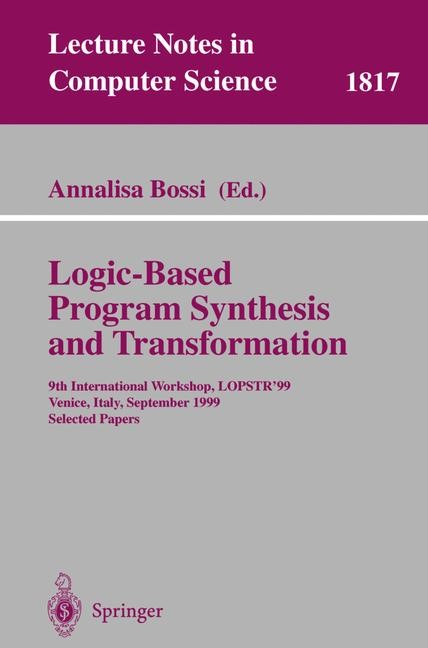 Logic-Based Program Synthesis and Transformation | Bossi, 2000 | Buch (Cover)