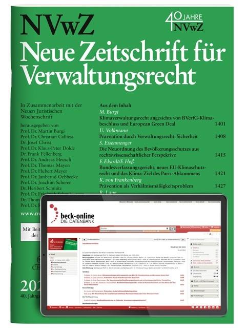 Abbildung von NVwZ • Neue Zeitschrift für Verwaltungsrecht | 38. Jahrgang | 2019