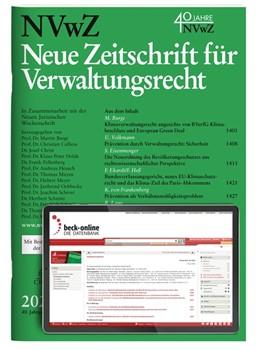 Abbildung von NVwZ • Neue Zeitschrift für Verwaltungsrecht | 37. Auflage | 2020 | beck-shop.de