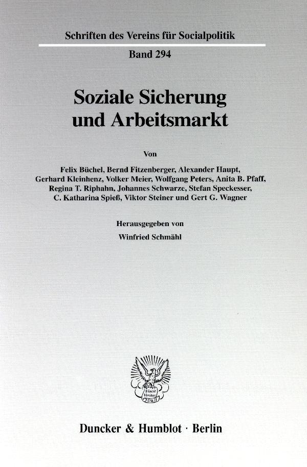 Abbildung von Schmähl | Soziale Sicherung und Arbeitsmarkt. | 2003