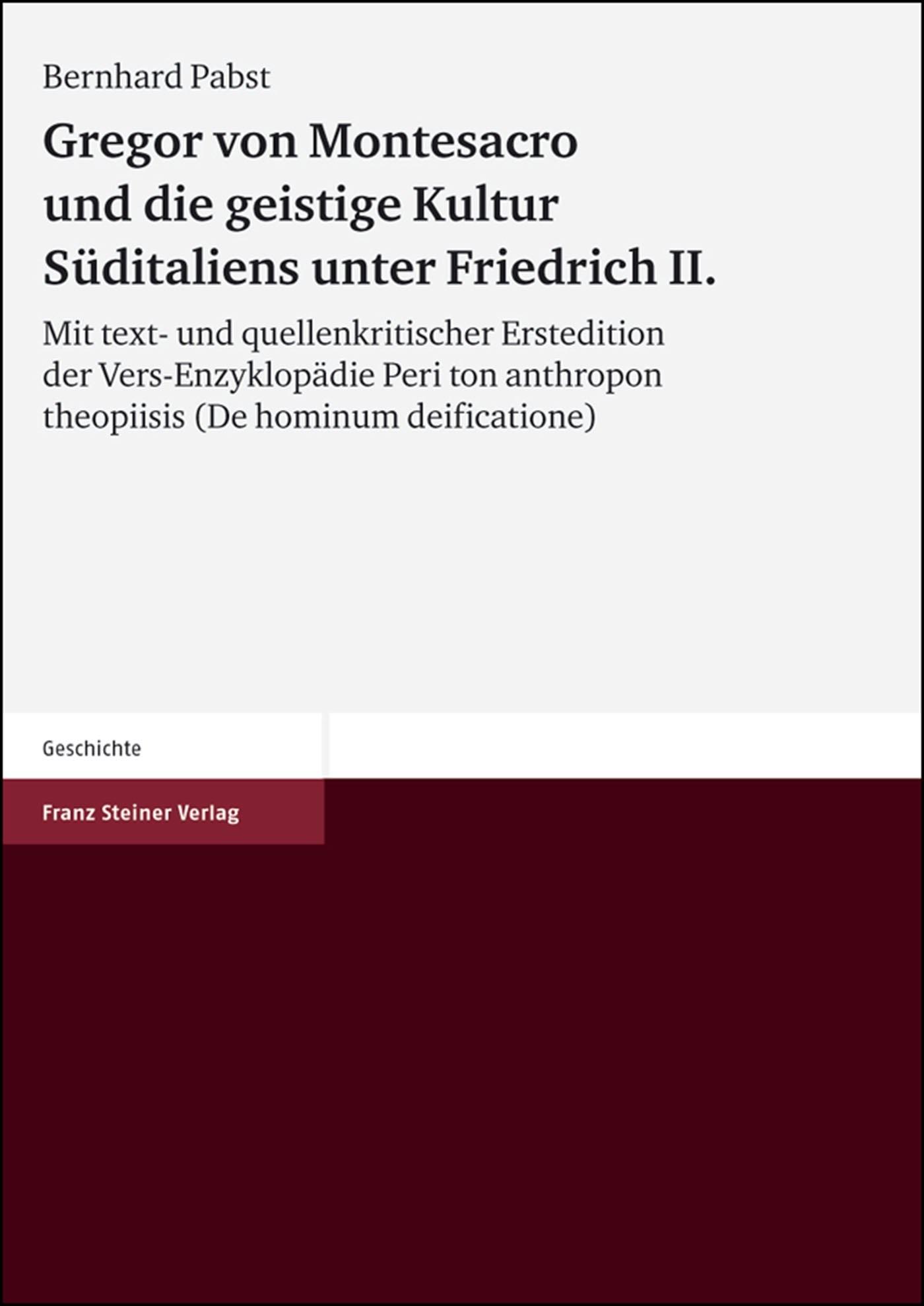 Abbildung von Pabst | Gregor von Montesacro und die geistige Kultur Süditaliens unter Friedrich II | 2002