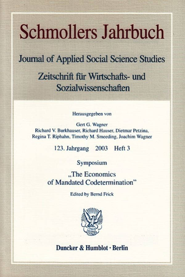 Abbildung von Frick | Symposium »The Economics of Mandated Codetermination« | 2003