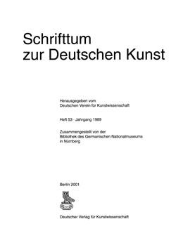 Abbildung von Schrifttum zur deutschen Kunst | 2001 | (1989)