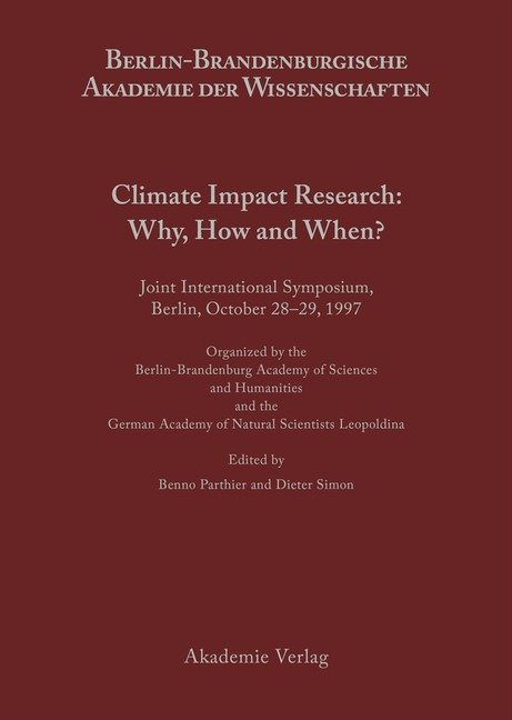 Abbildung von Parthier / Simon | Climate Impact Research: Why, How and When? | 2001