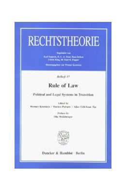 Abbildung von Krawietz / Pattaro / Erh-Soon Tay   Rule of Law.   1997