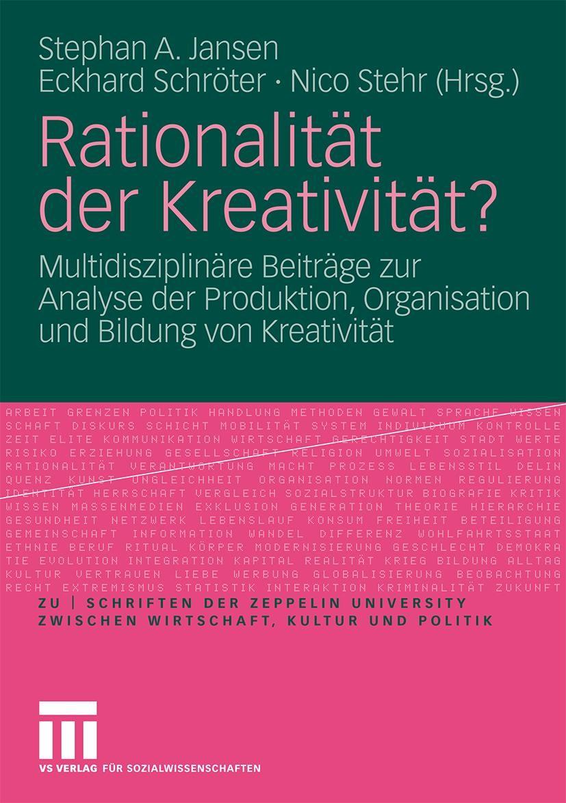 Abbildung von Jansen / Schröter / Stehr | Rationalität der Kreativität? | 2009
