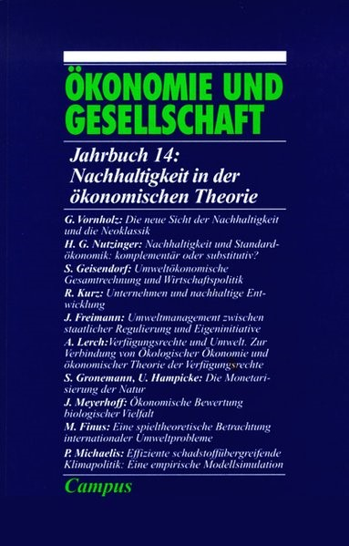 Abbildung von Nachhaltigkeit in der ökonomischen Theorie | Neuausgabe | 1998