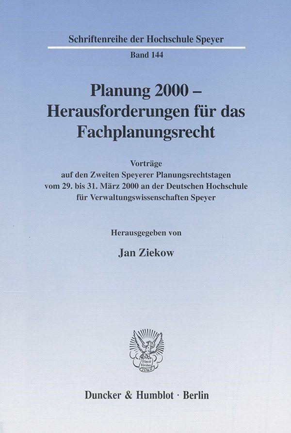 Abbildung von Ziekow   Planung 2000 - Herausforderungen für das Fachplanungsrecht.   2001