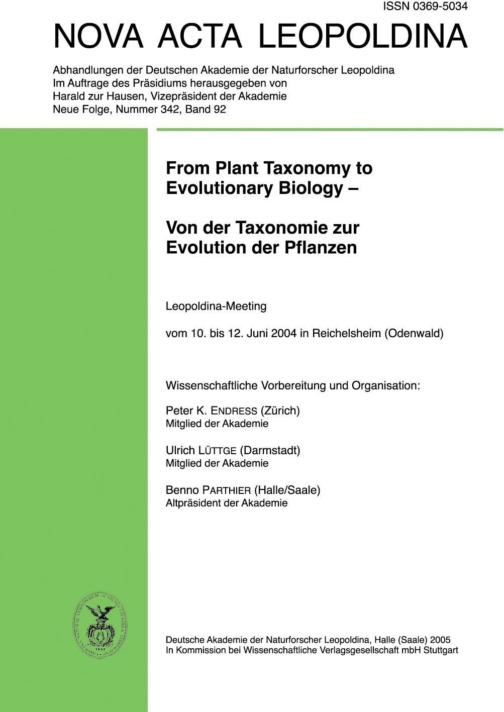 Abbildung von Endress / Lüttge / Parthier   From Plant Taxonomy to Evolutionary Biology - Von der Taxonomie zur Evolution der Pflanzen   2005
