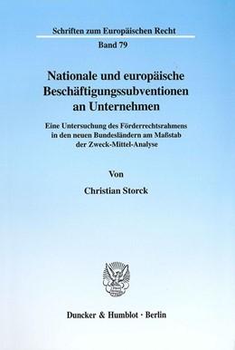 Abbildung von Storck | Nationale und europäische Beschäftigungssubventionen an Unternehmen. | 2001