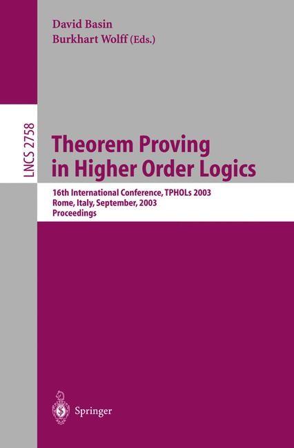 Abbildung von Basin / Wolff | Theorem Proving in Higher Order Logics | 2003