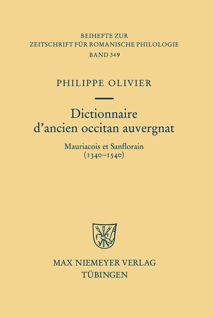 Dictionnaire d'ancien occitan auvergnat | Olivier, 2009 | Buch (Cover)