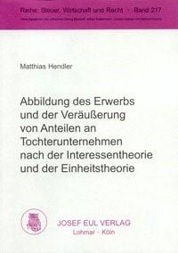 Abbildung von Hendler | Abbildung des Erwerbs und der Veräußerung von Anteilen an Tochterunternehmen nach der Interessentheorie und der Einheitstheorie | 2002