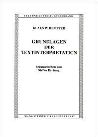 Abbildung von Hempfer / Hartung | Grundlagen der Textinterpretation | 2002