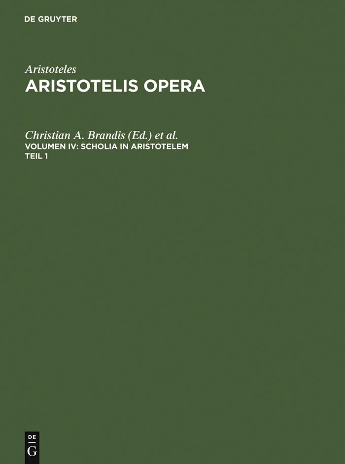 Abbildung von Brandis / Usener | Scholia in Aristotelem | 1961 | 1961