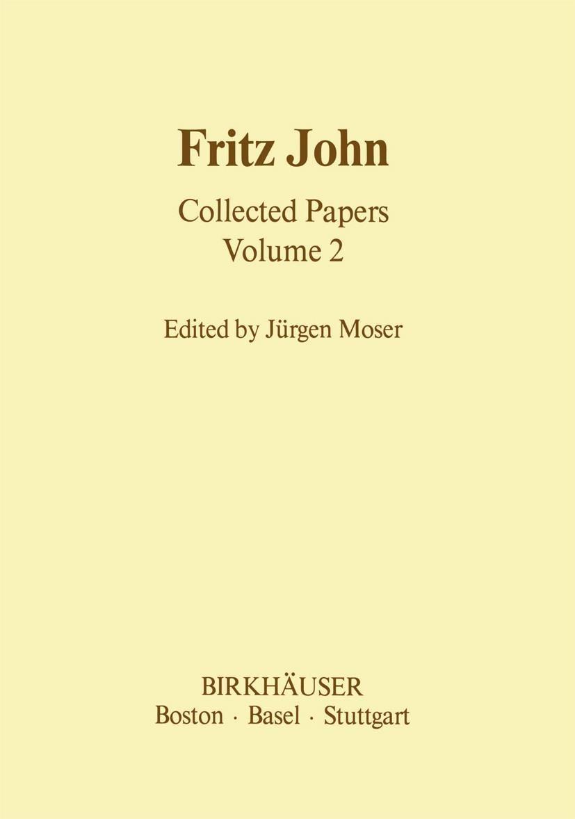 Abbildung von Moser | Fritz John Collected Papers | 1985