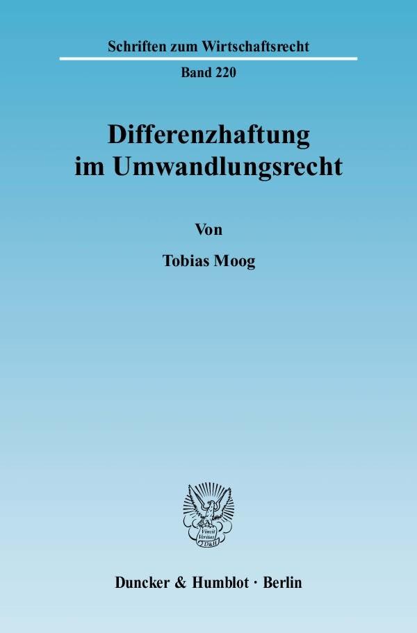 Abbildung von Moog | Differenzhaftung im Umwandlungsrecht. | 2009