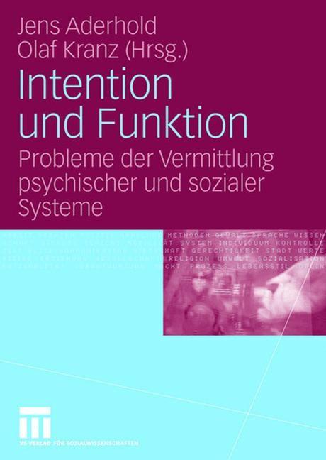 Intention und Funktion | Aderhold / Kranz, 2007 | Buch (Cover)