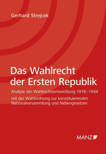 Abbildung von Strejcek   Das Wahlrecht der Ersten Republik   2009