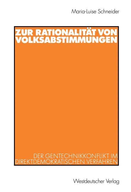 Abbildung von Schneider | Zur Rationalität von Volksabstimmungen | 2003 | 2003