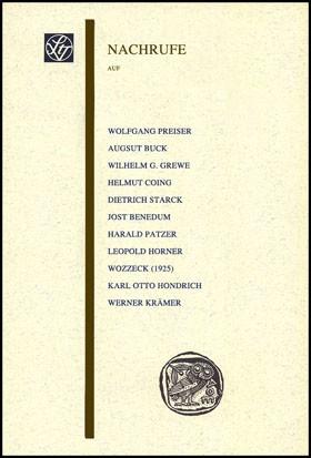 Abbildung von Lüderssen / Brandt / Preiser   Nachrufe auf Wolfgang Preiser, August Buck, Wilhelm G. Grewe, Helmut Coing, Dietrich Starck, Jost Benedum, Harald Patzer, Leopold Horner, Karl Otto Hondrich, Werner Krämer   1. Auflage   2008