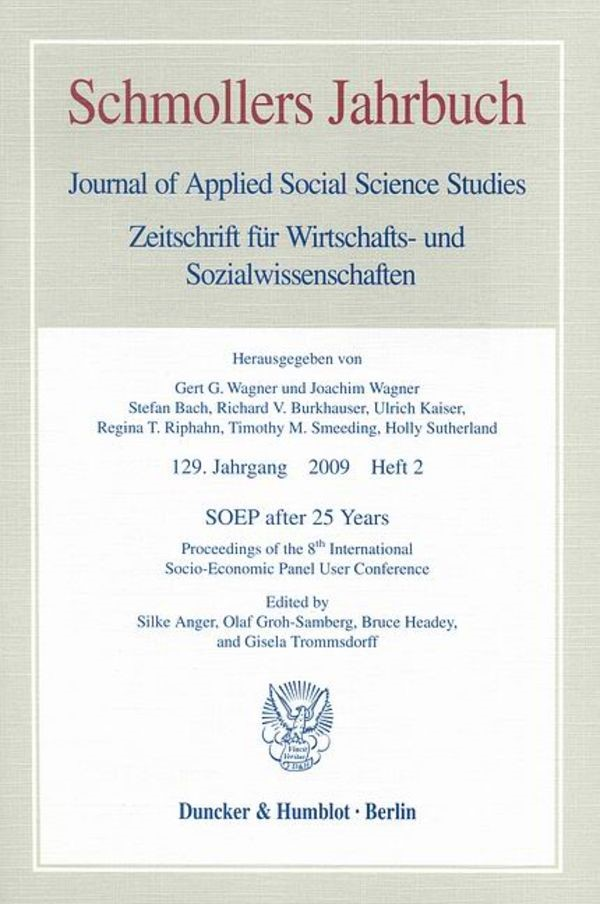 Abbildung von Anger / Groh-Samberg / Headey / Trommsdorff | SOEP after 25 Years | 2009