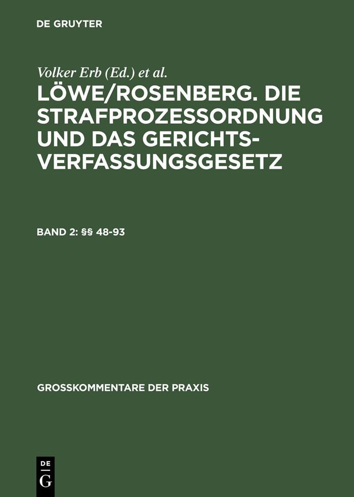Die Strafprozessordnung und das Gerichtsverfassungsgesetz: StPO, Band 2: §§ 48-93 | Löwe / Rosenberg | 26., neu bearbeitete Auflage, 2008 | Buch (Cover)