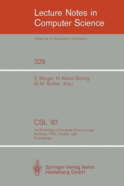 Abbildung von Börger / Kleine Büning / Richter | CSL '87 | 1988