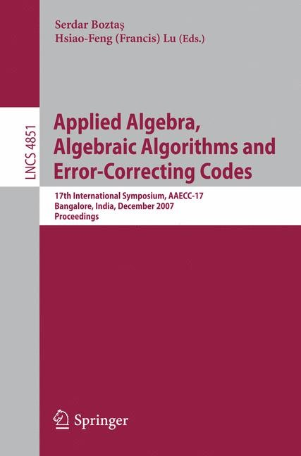 Applied Algebra, Algebraic Algorithms and Error-Correcting Codes | Boztas / Lu, 2007 | Buch (Cover)