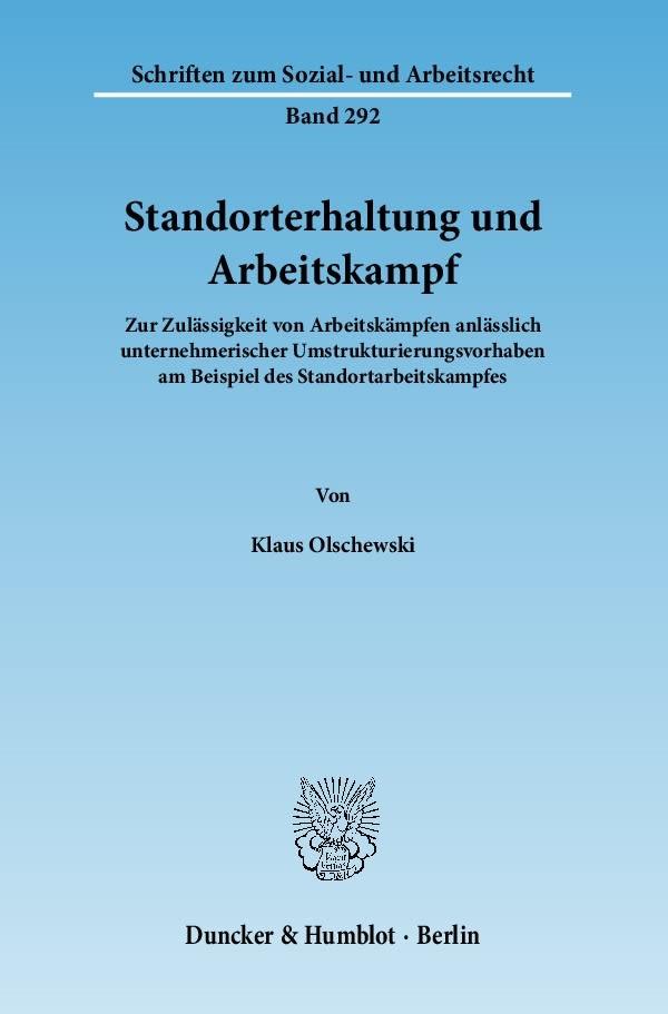 Standorterhaltung und Arbeitskampf | Olschewski, 2010 | Buch (Cover)