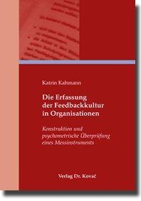 Die Erfassung der Feedbackkultur in Organisationen | Kahmann, 2009 | Buch (Cover)