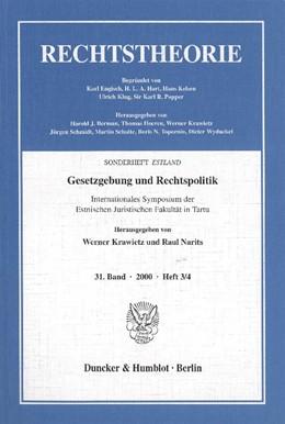Abbildung von Krawietz / Narits | Gesetzgebung und Rechtspolitik. | 2002 | Internationales Symposium der ...