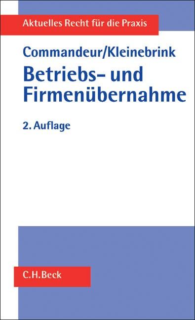 Betriebs- und Firmenübernahme | Commandeur / Kleinebrink | 2. Auflage, 2002 | Buch (Cover)