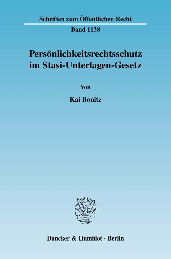 Abbildung von Bonitz | Persönlichkeitsrechtsschutz im Stasi-Unterlagen-Gesetz | 2009