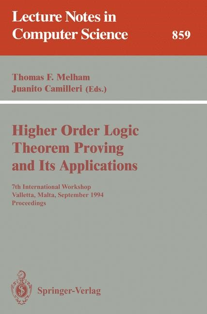 Abbildung von Melham / Camilleri | Higher Order Logic Theorem Proving and Its Applications | 1994